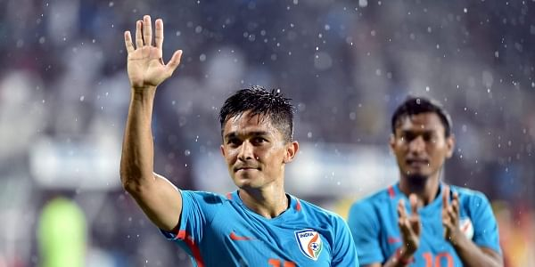 India player Sunil Chhetri greets the spectators after the team's victory against Kenya during the Hero Intercontinental football Cup in Mumbai. | File PTI