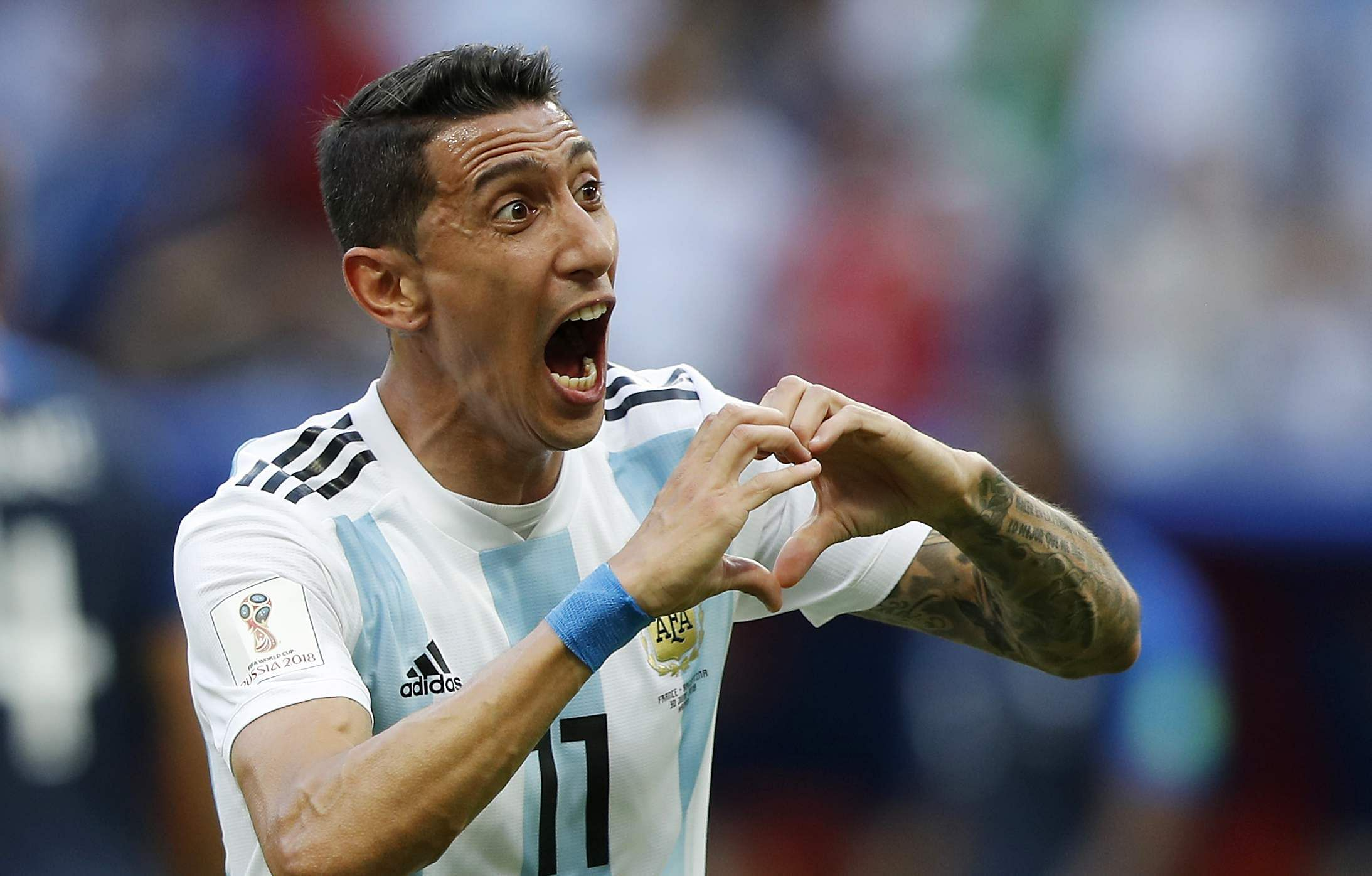 Argentina's Angel Di Maria celebrates after scoring his side's first goal. (Photo | AP)
