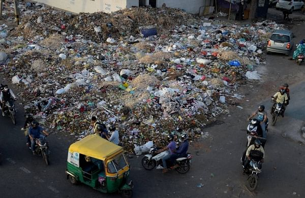Garbage dumped on a road in East Delhi. (File Photo | PTI)