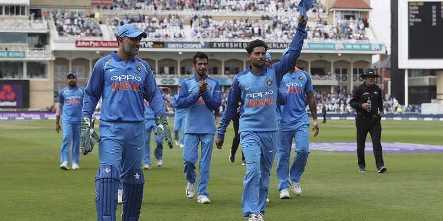 India's Kuldeep Yadav, center right, acknowledges the crowd at the end of the England innings during the first ODI between England and India at Trent Bridge, Nottingham, England (Photo | AP)