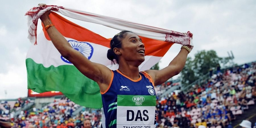 The daughter of a rice farmer from a village in Assam's Nagaon district, Hima scripted history by becoming the first Indian woman to win a gold at the IAAF World Under-20 Athletics Championships. (Photo | AP)