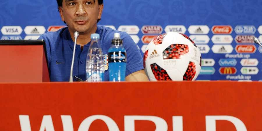 Croatia head coach Zlatko Dalic answers a question during a news a press conference at the 2018 soccer World Cup in Moscow, Russia. | AP