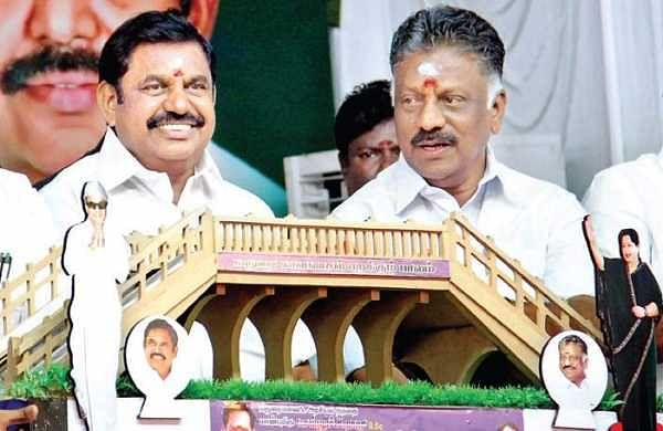CM Edappadi K Palaniswami and Deputy CM O Panneerselvam with a model of the flyover to be constructed at Kalavasal in Madurai on Sunday | k k sundar