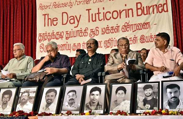 (From left) Selvaraj, Shiv Viswanathan, Krishnadas Gandhi, AWD Thilak and Justice Hariparanthaman listen to the speakers at a function held to release a report 'The day Tuticorin burned' on the anti-Sterlite protestors in Chennai on June 15, 2018. (Photo | P Jawahar/EPS)