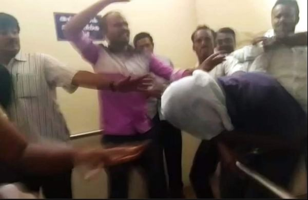 Screengrab from the video where advocates are seen attacking the rape accused men.