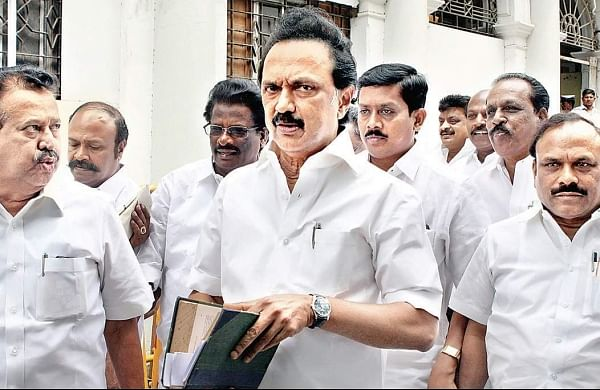 DMK members, led by party leader MK Stalin, coming out of the Assembly | Express