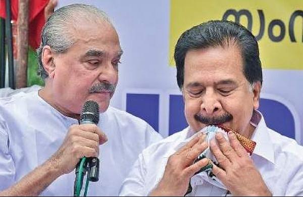Kerala Congress leader K M Mani with Ramesh Chennithala at the UDF dharna on Tuesday