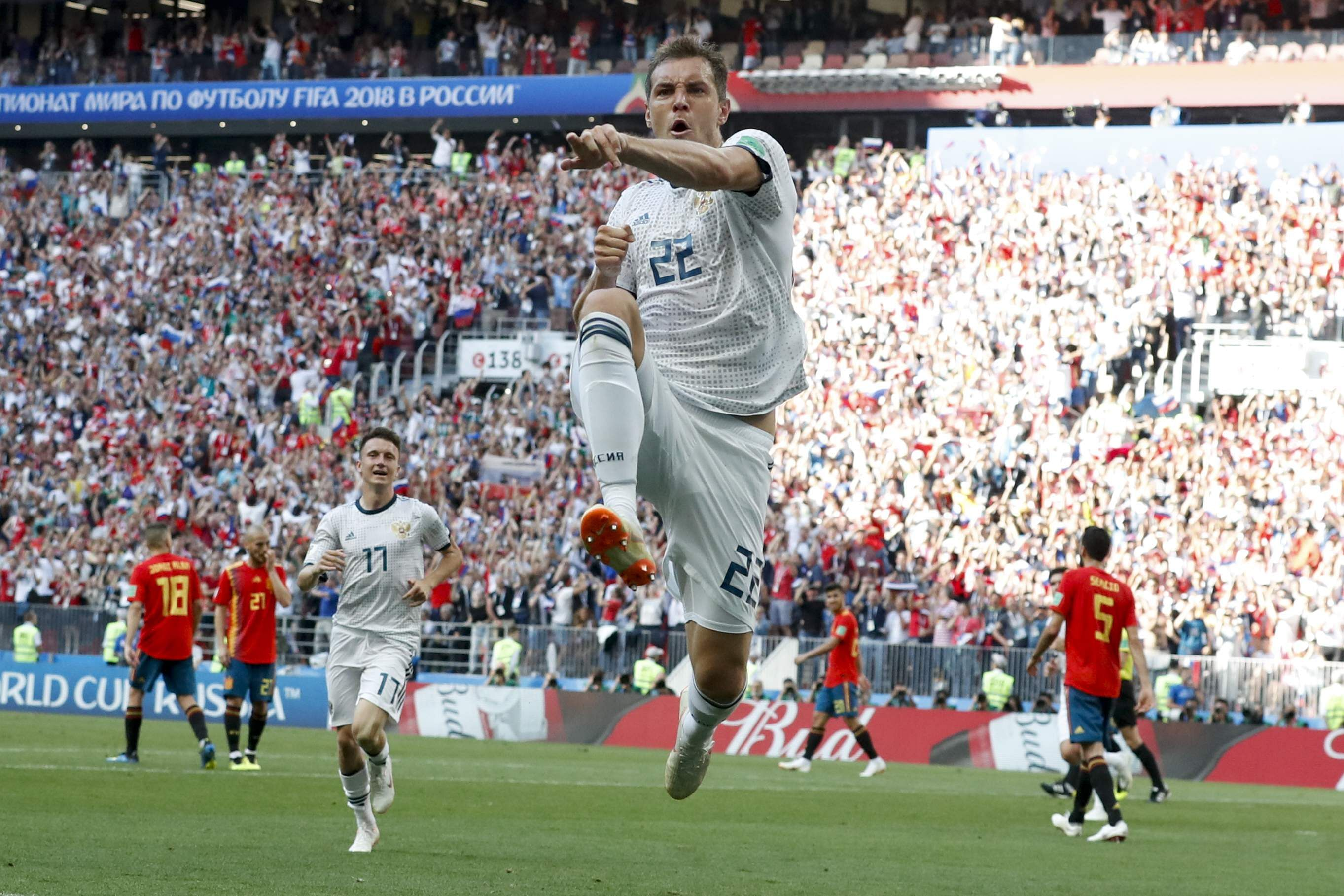 Russia's Artyom Dzyuba celebrates scoring his side's opening goal during the round of 16 match between Spain and Russia at the 2018 FIFA World Cup at the Luzhniki Stadium in Moscow, Russia. (Photo | AP)