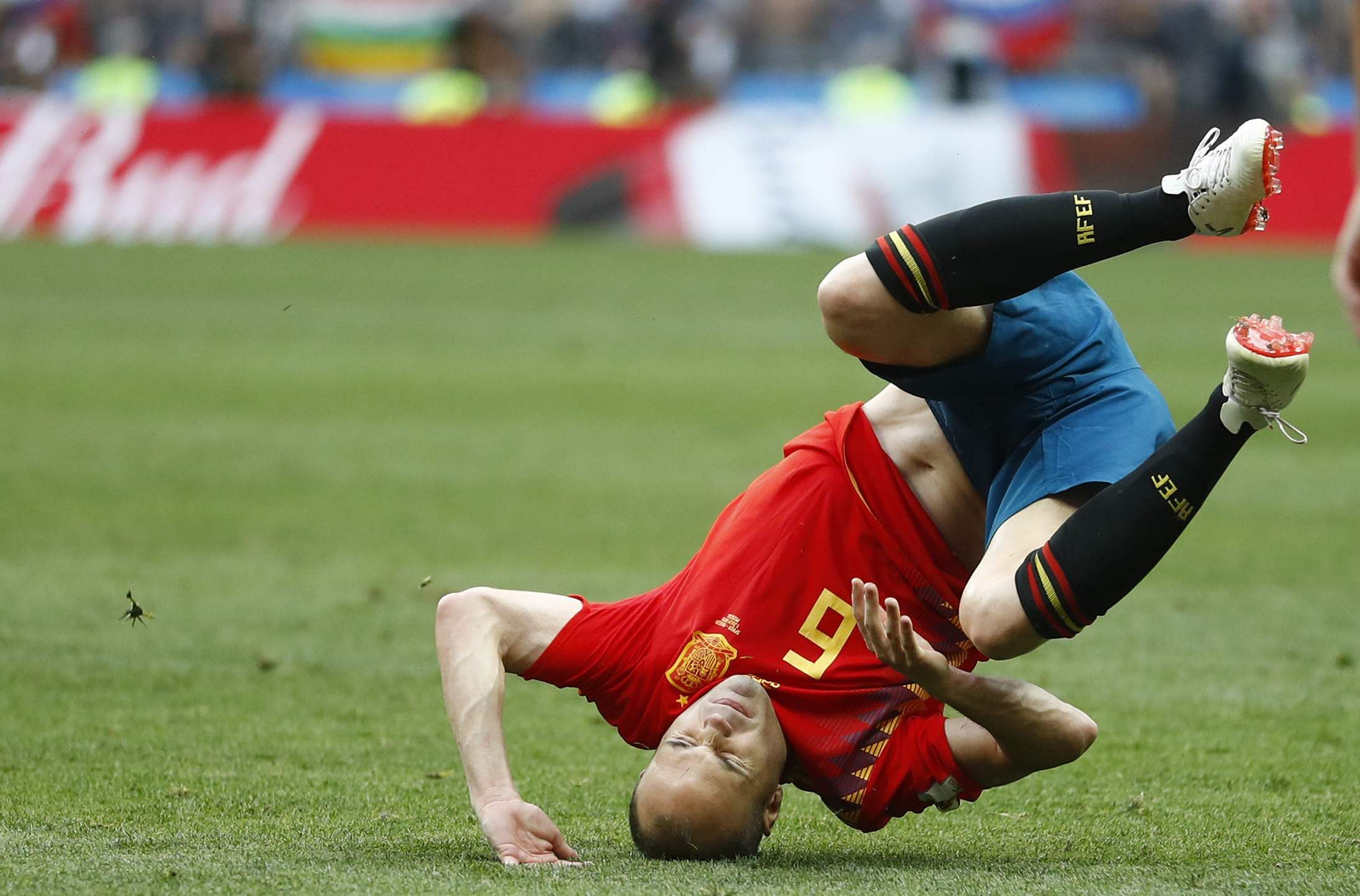 Spain's Andres Iniesta falls during the round of 16 match between Spain and Russia. (Photo | AP)
