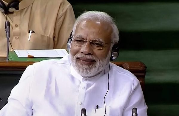 PM Narendra Modi during the no-confidence debate | PTI