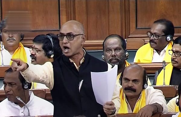 TDP MP Jayadev Galla speaks in the Lok Sabha on no-confidence motion during the Monsoon session of Parliament in New Delhi on Friday July 20 2018.  (Photo | PTI)