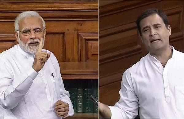 (L-R) Prime Minister Modi and Congress chief Rahul Gandhi on the floor of the Parliament during the no-confidence motion debate against the NDA government on June 20, 2018. (Screengrabs | Lok Sabha TV)