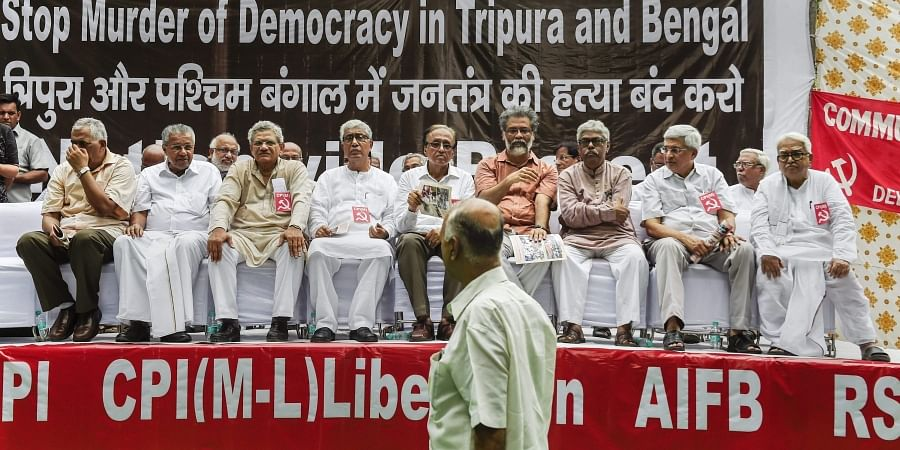 Communist Party of India Marxist CPI M General Secretary Sitaram Yechury and others attend the Left parties protest rally in New Delhi. (Photo | PTI)