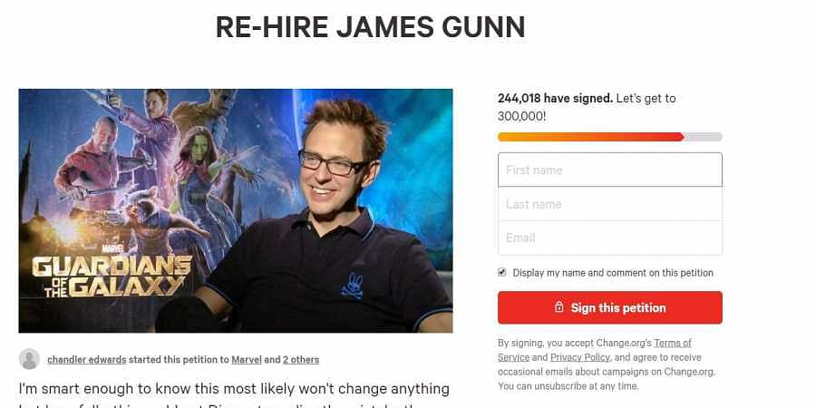 More than 240,000 people petition Disney to re-hire Guardians of the Galaxy director James Gunn