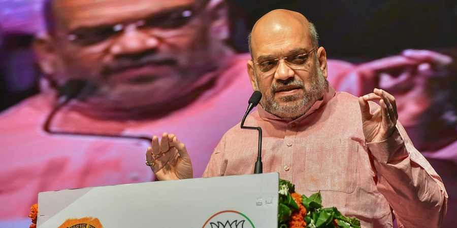 BJP National President Amit Shah gestures as he addresses the concluding session of 'Khelo Bharat' organised by BJYM in New Delhi. (Photo | PTI)