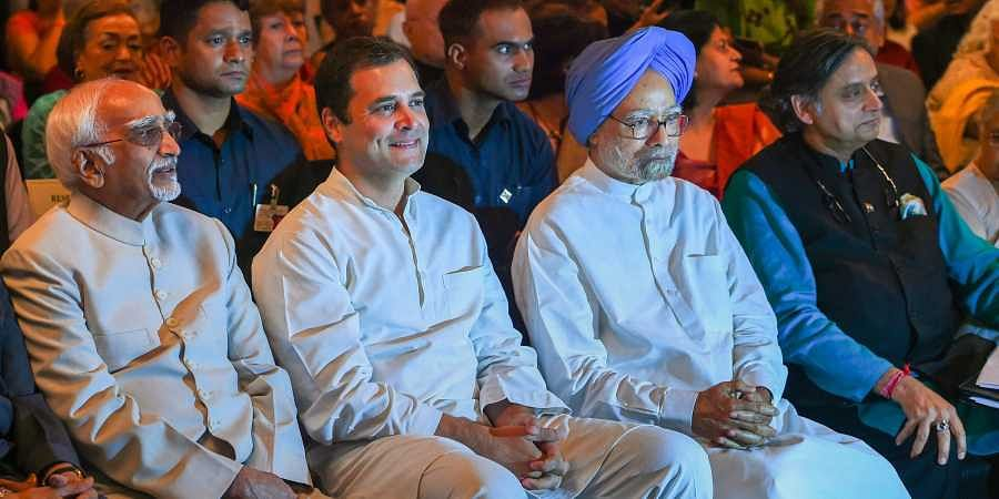 L-R Former vice-president Hamid Ansari former prime minister Manmohan Singh Congress President Rahul Gandhi and Congress MP Shashi Tharoor during the book launch of Karan Thapar's 'Devil's Advocate' in New Delhi. (Photo | PTI)