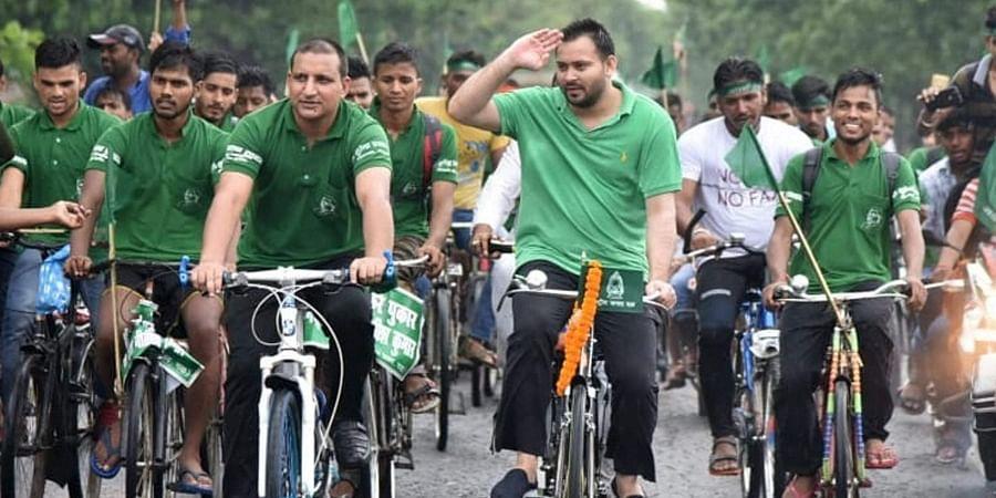 Rashtriya Janata Dal MLA Tej Pratap Yadav start 'Beti Bachao Cycle Rally' from Bodh Gaya. (Photo | PTI)