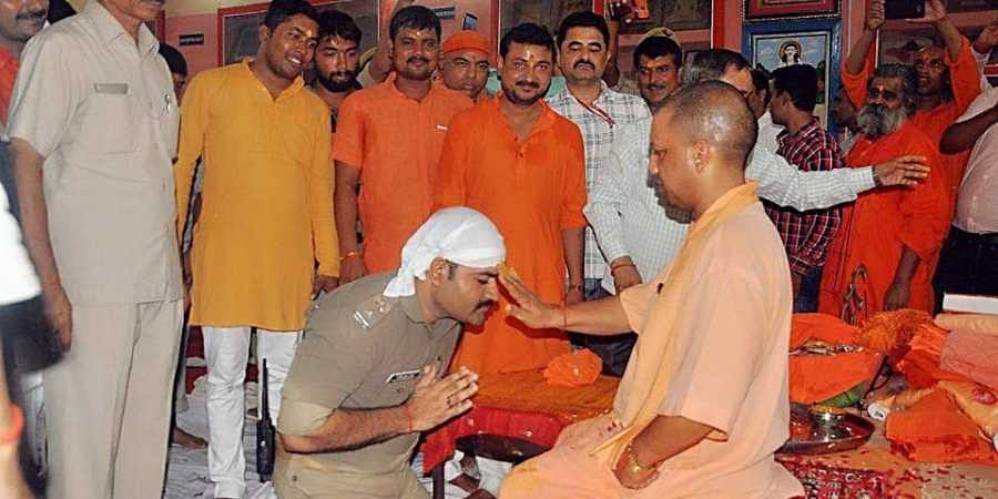 The cop had written in his post that he was seeking blessings of Yogi Adityanath on the occasion of Guru Poornima, not as the chief minister but as the 'Muthhadheeshwar' (Head Priest) of Gorakhnath temple. (Facebook post)