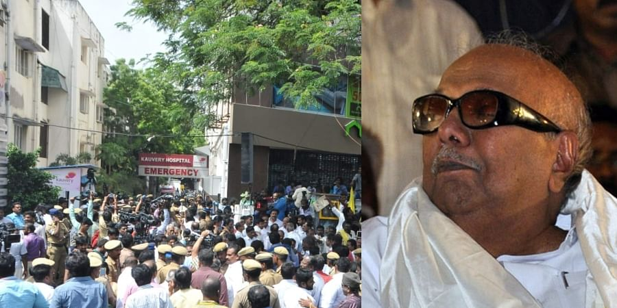 Karunanidhi health is stable, Vice President, Governor visited at Kauvery Hospital