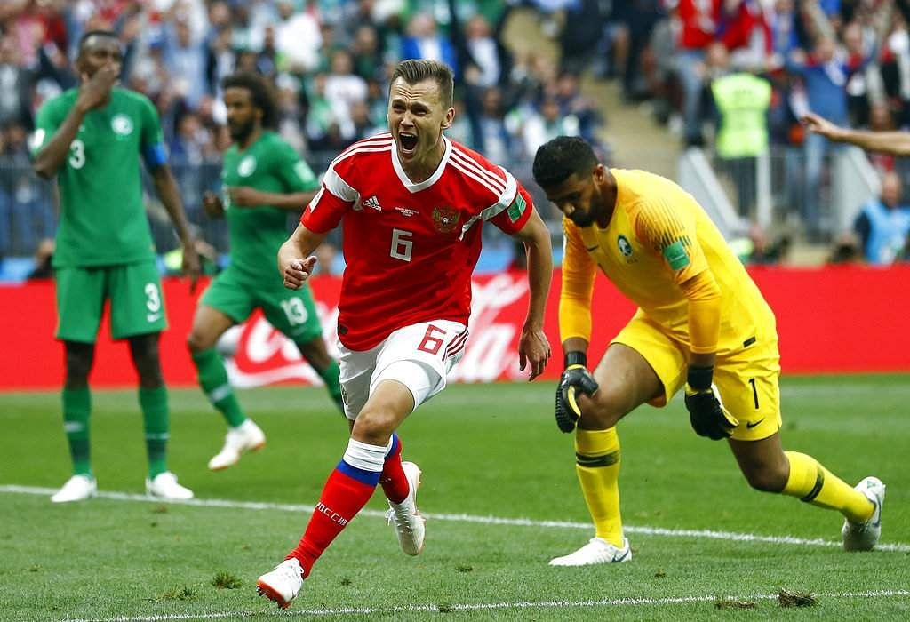 d2c0cc13ce80 ... Russia thrashed Saudi Arabia 5-0 in the opening match of the World Cup  to start their tournament in style in Moscow s Luzhniki Stadium on 14 June.