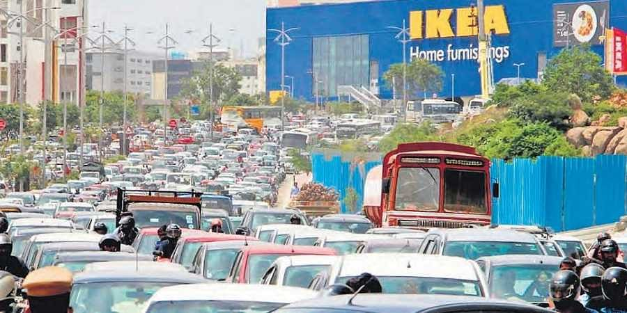 Traffic freezes over IKEA in Hyderabad- The New Indian Express