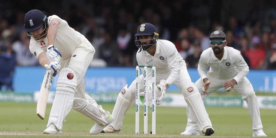 England's Jonny Bairstow plays a shot off the bowling of India's Ravichandran Ashwin during the third day of the second test match between England and India at Lord's cricket ground in London. (Photo | AP)