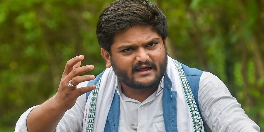Patidar quota agitation leader Hardik Patel interact with media in Ahmedabad. (Photo | PTI)