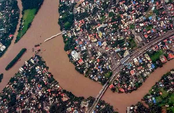An aerial view of the flood-hit districts of Kerala (Photo | PTI)