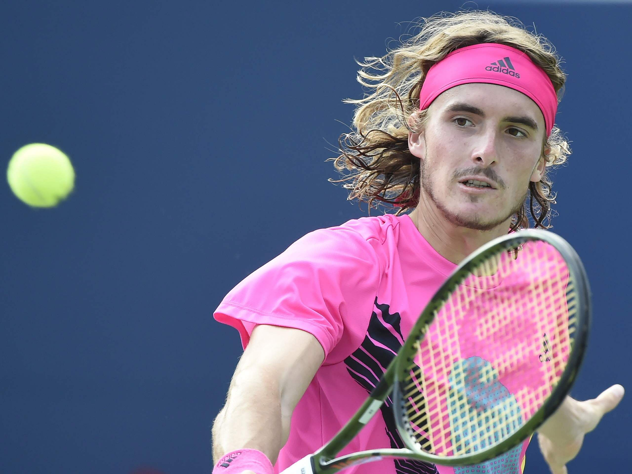 Stefanos Tsitsipas returns to Rafael Nadal during the final of the Rogers Cup men's tennis tournament in Toronto. (Photo | AP)