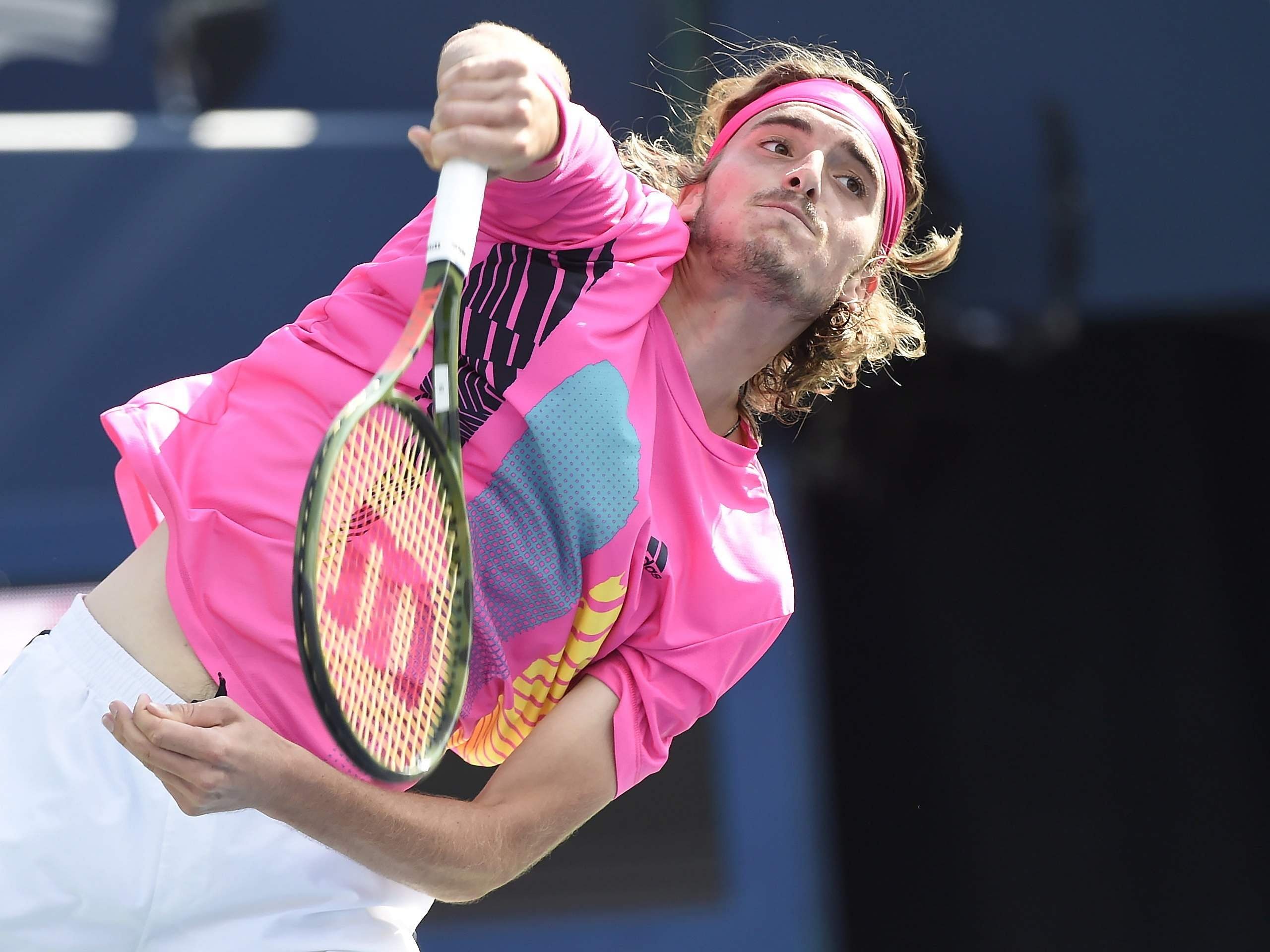 Stefanos Tsitsipas, of Greece, serves during the final of the Rogers Cup men's tennis tournament in Toronto. (Photo | AP)