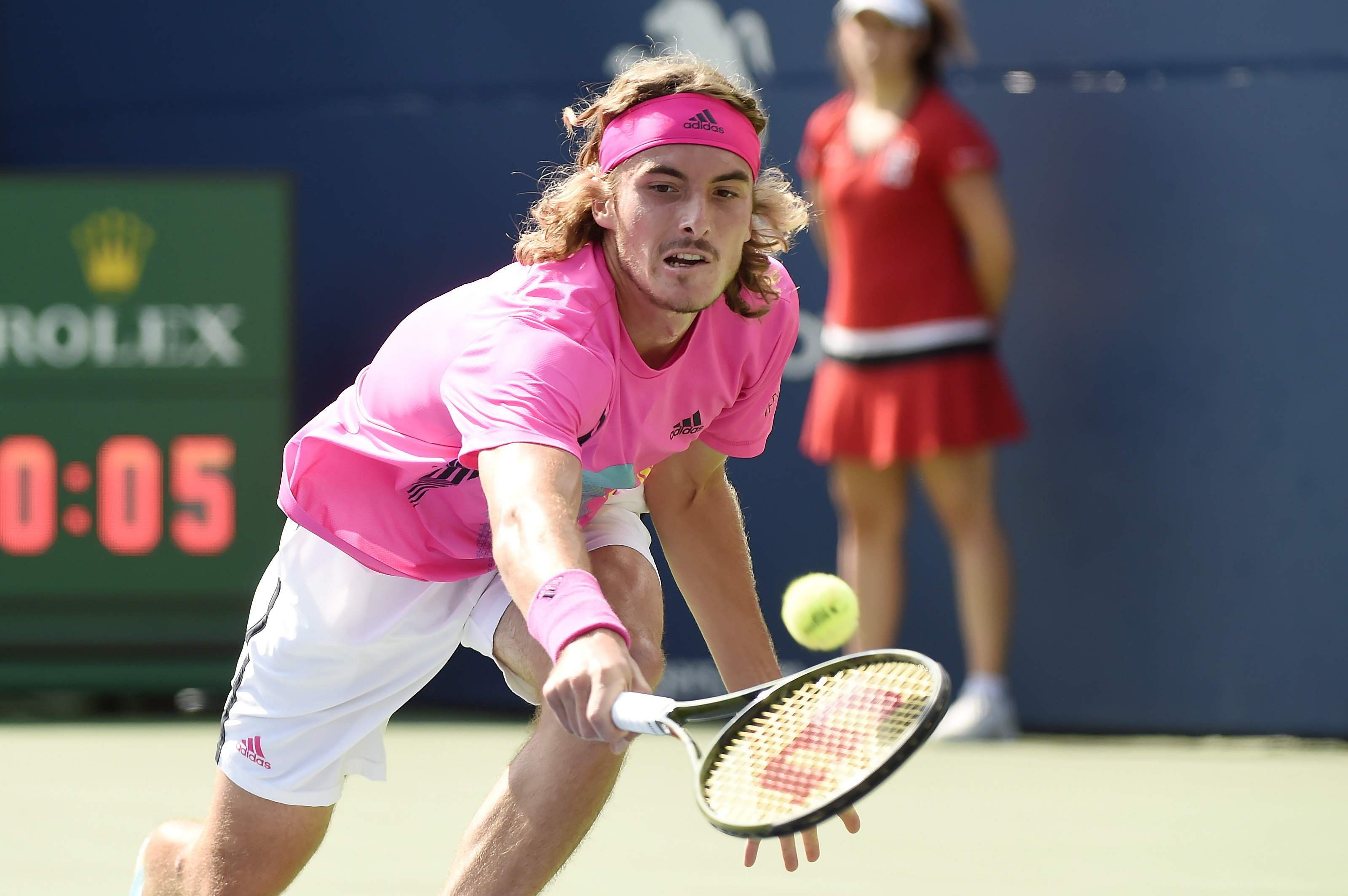 Stefanos Tsitsipas returns to Rafael Nadal during championships men's finals Rogers Cup tennis action in Toronto. (Photo | AP)