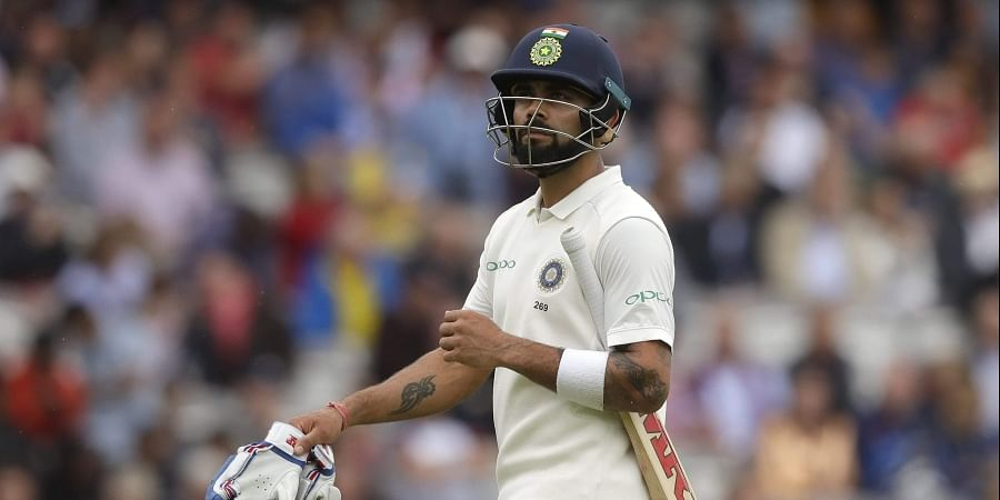Kohli could score just 17 from 29 deliveries before becoming Stuart Board's victim in the second innings which folded for 130 in 47 overs. (Photo | AP)