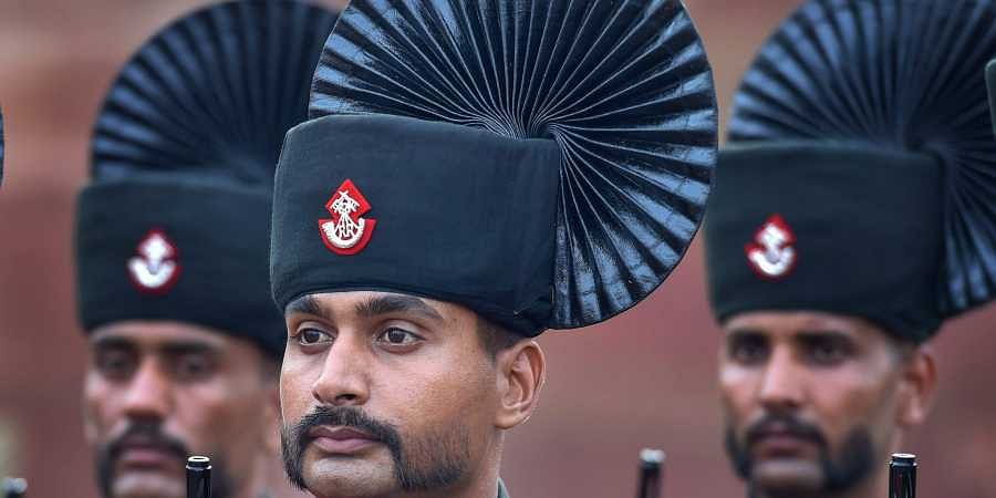 Army soldiers participate in the full dress rehearsal for the 72nd Independence Day function at the historic Red Fort. (Photo | PTI)