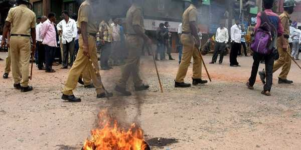 A file photo of violent protests in Karnataka's Hubli demanding for Mahadayi water allocation to the state. (Photo   File/PTI)