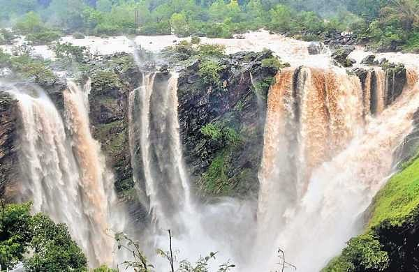 Jog Falls in full glory on Tuesday after 27,000 cusecs of water was released from the Linganamakki dam | Shimoga nandan