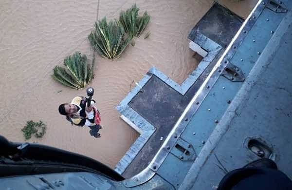 IAF airlifts a local in its rescue operation at Pathanamthitta in Kerala. (Photo | Defence dept)
