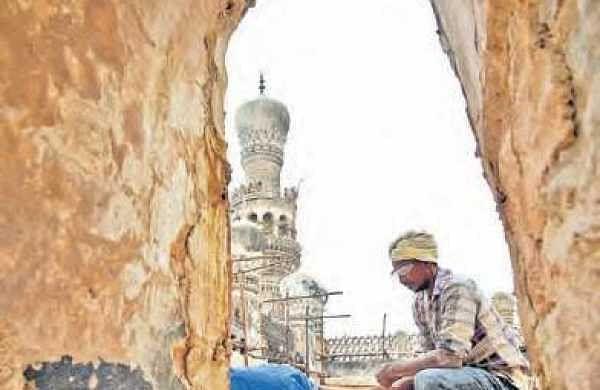 Restoration work going on at Khairati Begum Mosque | r satish babu
