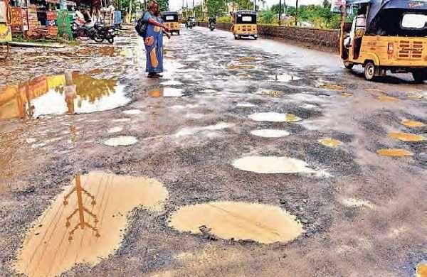 Roads at Arundelpet, Brodipet, Lakshmipuram, Sampath Nagar and Santosh Nagar in Guntur suffered damages due to recent rains| EXPRESS