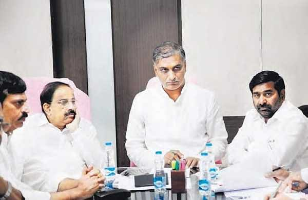 Irrigation minister Harish Rao at a review meet, in Hyderabad on Friday | Express