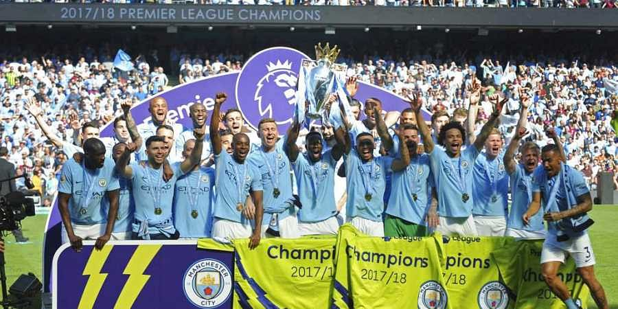 Manchester City Players Lift The English Premier League Trophy At Etihad Stadium File