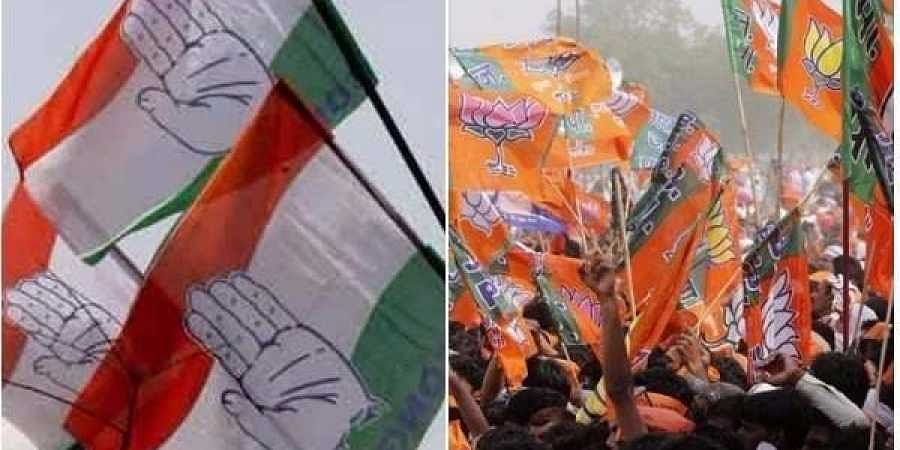Congress and BJP flags
