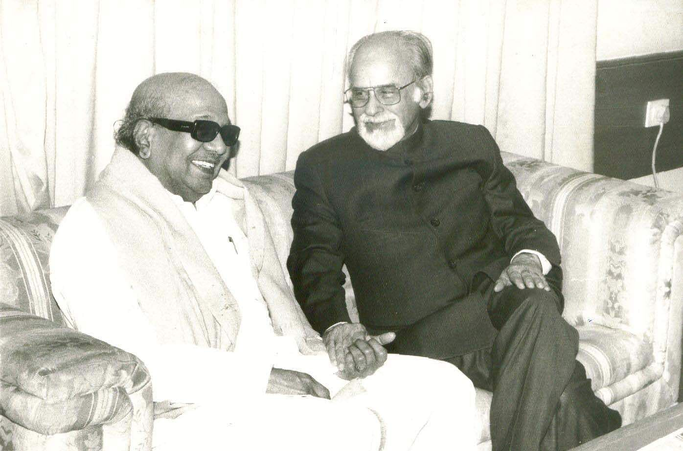 I K Gujral, then Prime Minister seen with the DMK's M Karunanidhi - Express photo