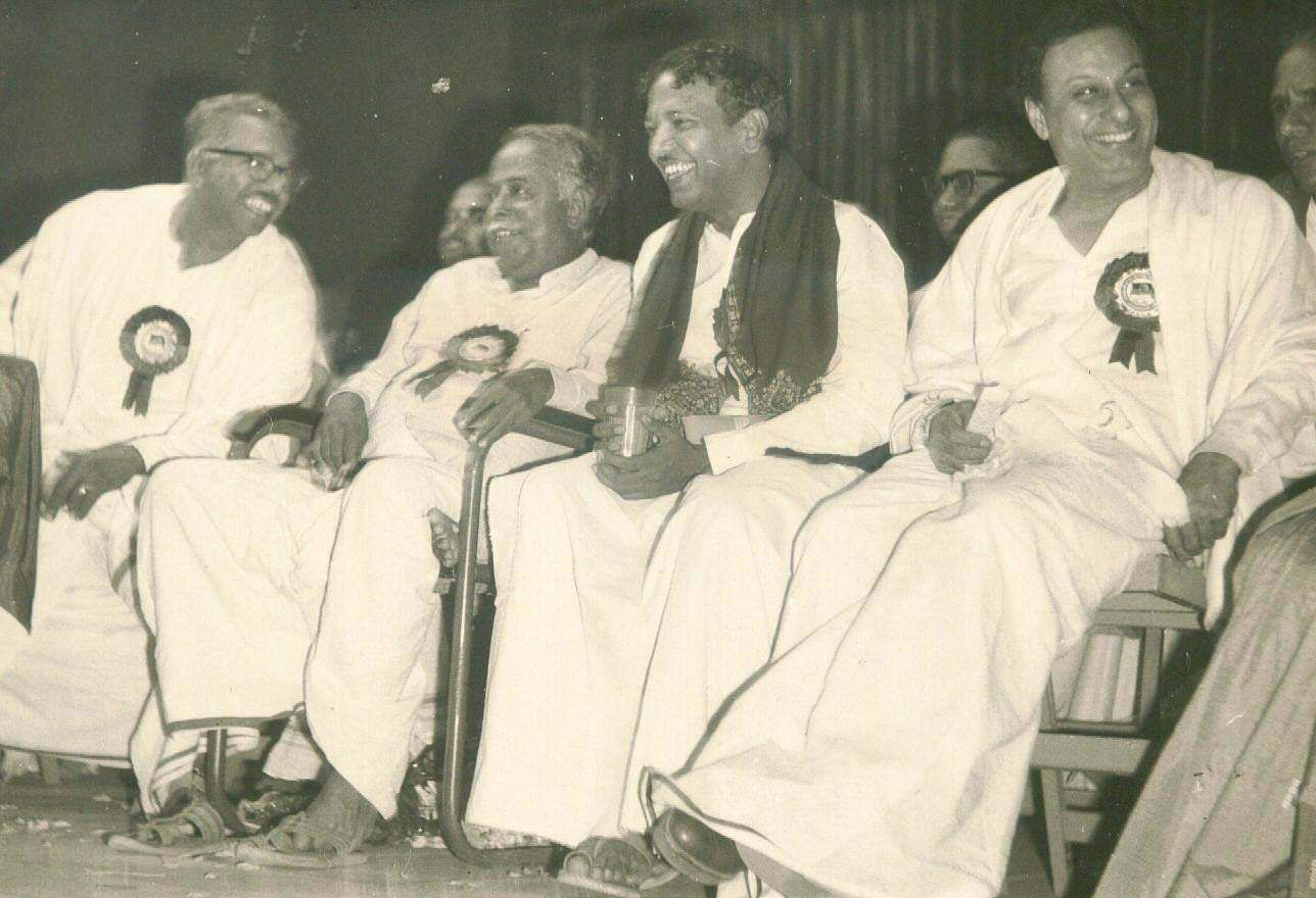 DMK leaders (from left) V R Nedunchezhian, C N Annadurai, M Karunanidhi and M G Ramachandran at a party meeting (Photo | EPS)