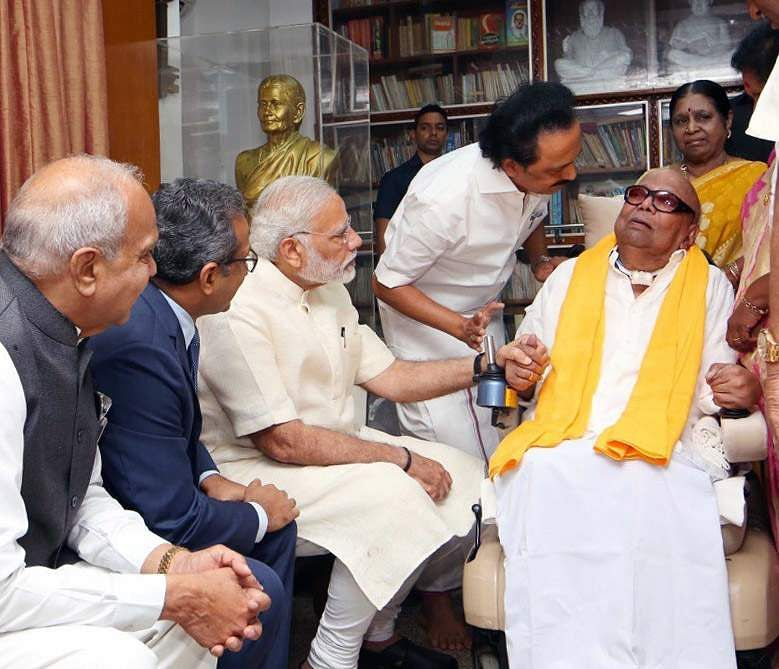 Prime Minister Narendra Modi calls on DMK President M Karunanidhi at the laters Gopalapuram residence in Chennai (Photo | EPS)