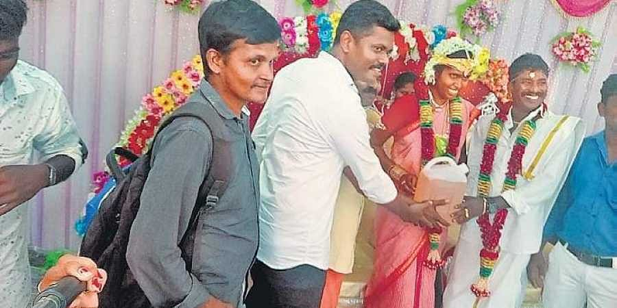the newly married couple was presented with 5 litres of petrol by friends at kumaratchi near chidambaram in cuddalore district on sunday express