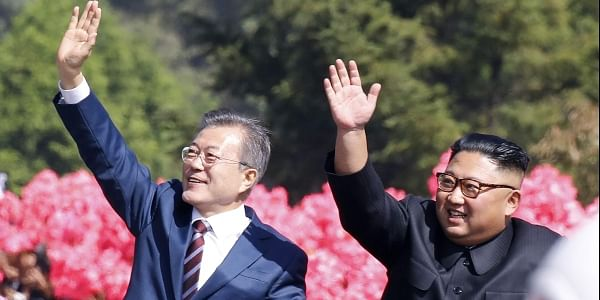 South Korean President Moon Jae-in and North Korean leader Kim Jong Un. (Photo | AP)