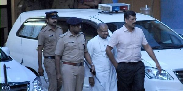Bishop Franco Mulakkal comes out of the Tripunithura Crime Branch Office. (Photo | A Sanesh/EPS)
