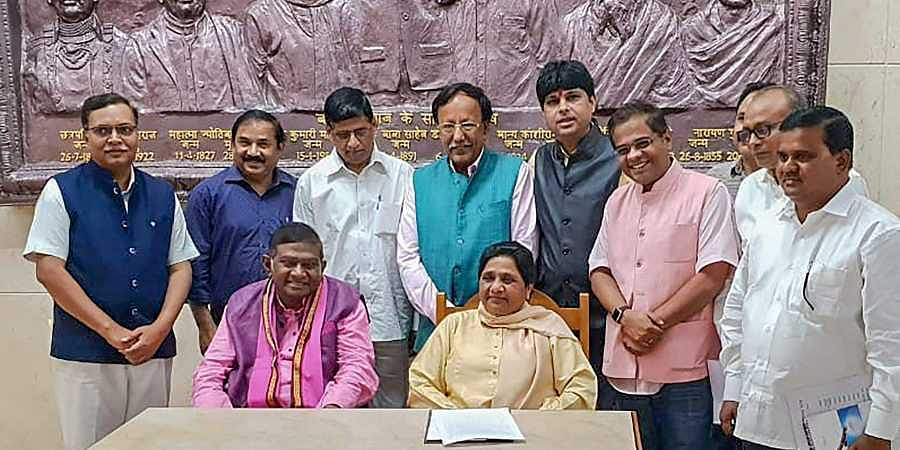 BSP supremo Mayawati and Janata Congress Chhatisgarh President Ajit Jogi during a press conference to annouce their alliance for assembly polls in Chhatisgarh. (Photo | PTI)