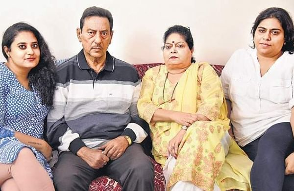 Sudhir Kumar Sharma, who was framed in ISRO spy case of 1994, along with his family members at his house in Indiranagar | nagaraja gadekal