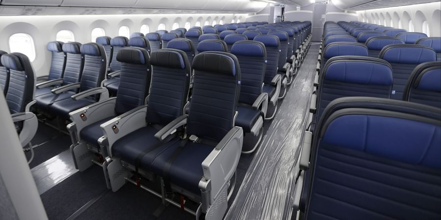 FILE - In this Jan. 26, 2016, file photo, economy class seating is shown on a new United Airlines Boeing 787-9 undergoing final configuration and maintenance work at Seattle-Tacoma International Airport in Seattle. (Photo | AP)